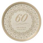 60.a placa personalizada del aniversario platos para fiestas