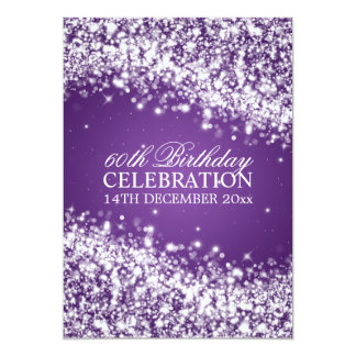 "60.a púrpura chispeante elegante de la onda de la invitación 5"" x 7"""