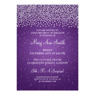 60.a púrpura simple elegante de la chispa de la fi invitación personalizada