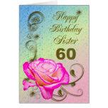 60.a tarjeta de cumpleaños color de rosa elegante