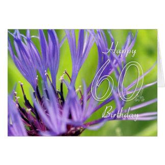 60.a tarjeta de cumpleaños con la flor púrpura