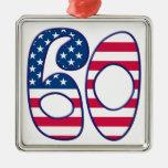 60 Age USA Square Metal Christmas Ornament