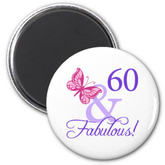 60 And Fabulous Birthday 2 Inch Round Magnet