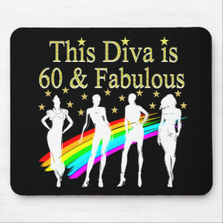 60 AND FABULOUS DAZZLING DIVA DESIGN MOUSE PAD
