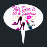 """60 AND FABULOUS DIVA CAKE TOPPER<br><div class=""""desc"""">This fabulous 60 year old jet setter will love and adore this trendy and chic Diva birthday design on Tees and Gifts. Surprise your fun, fierce, and fabulous 60 year old Party Girl with this 60 and fabulous customized birthday gift that she will treasure all year long. Celebrate turning 60...</div>"""