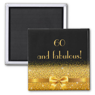 60 and fabulous elegant gold bow sparkle black magnet