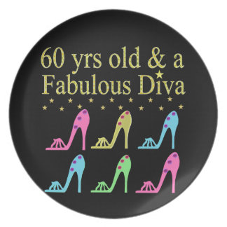 60 AND FABULOUS SHOE QUEEN MELAMINE PLATE