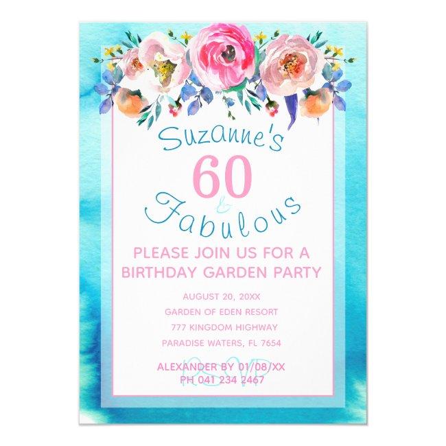 60 and Fabulous Sixtieth Birthday Party Invitation