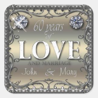 60 años de amor pegatina cuadrada