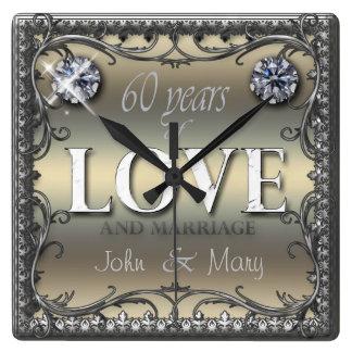 60 años del amor ID196 Reloj Cuadrado