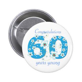 60 años del cumpleaños de botón joven de la enhora pin