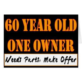 60 años, un dueño - las piezas de las necesidades, tarjeta