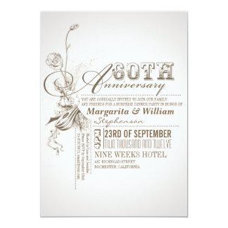 60.as invitaciones del aniversario de la invitación 12,7 x 17,8 cm