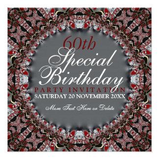 60 as invitaciones del cumpleaños del diamante roj invitaciones personales