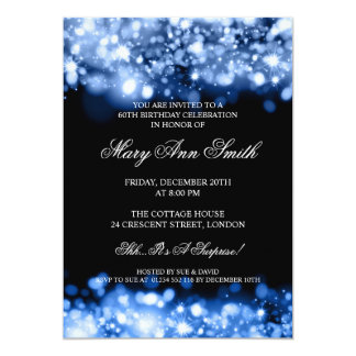 60.as luces chispeantes azules elegantes de la invitación 12,7 x 17,8 cm