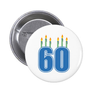 60 Birthday Candles (Blue / Green) Buttons