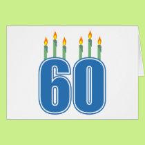 60 Birthday Candles (Blue / Green) Card