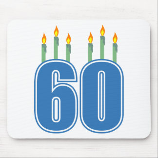 60 Birthday Candles (Blue / Green) Mouse Pad