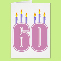 60 Birthday Candles (Pink / Purple) Card