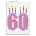 60 Birthday Candles (Pink / Purple) Greeting Card
