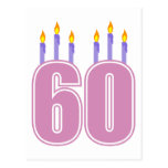 60 Birthday Candles (Pink / Purple) Post Card