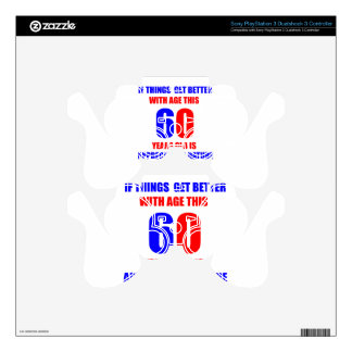 60 birthday design PS3 controller decal