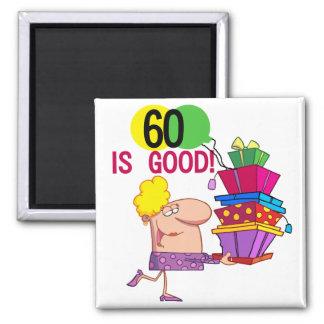 60 es buenos camisetas y regalos del cumpleaños imán cuadrado