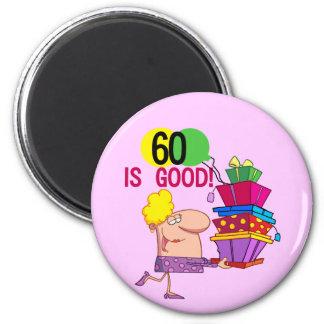 60 es buenos camisetas y regalos del cumpleaños imán redondo 5 cm