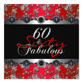 """60 & Fabulous 60th Birthday Party Silver Red 5.25"""" Square Invitation Card"""