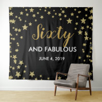60 & Fabulous birthday Photo Booth backdrop banner