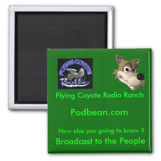 60, FCR-Radio Logo, Broadcast to the People, Fl... 2 Inch Square Magnet