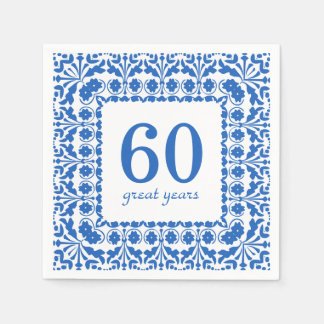 60 Great Years Blue and White Birthday Anniversary Disposable Napkins