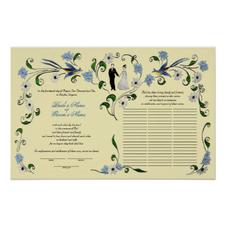 60 guests Quaker Wedding in summer - blue, ivory Poster