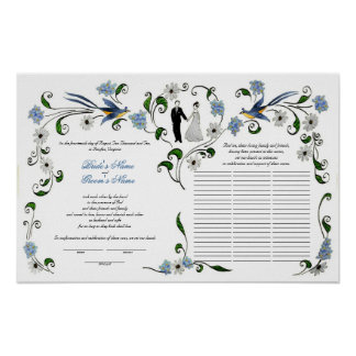 60 guests Quaker Wedding in summer - blue, white Poster