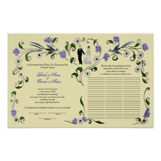 60 guests Quaker Wedding in summer -purple, ivory Poster