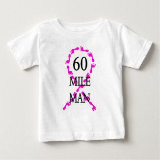 60 mile man pink ribbon feet baby T-Shirt