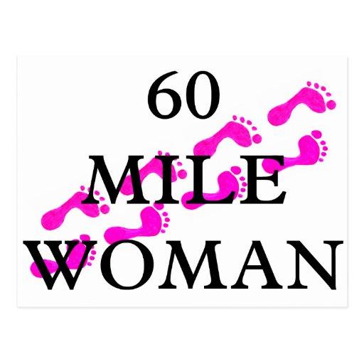 60 mile woman 8 feet postcard