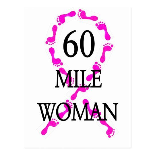 60 mile woman feet ribbon postcard