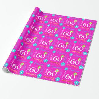 60.o abrigo personalizado flor del cumpleaños de papel de regalo