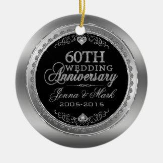 60.o Aniversario de boda Adorno Navideño Redondo De Cerámica