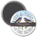 60.o Aniversario de boda, Bluebirds de una pluma Imán Redondo 7 Cm