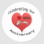 60.o. Aniversario de boda Pegatina Redonda