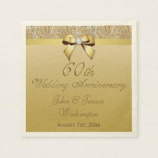 60.o aniversario de boda personalizado de diamante servilletas desechables