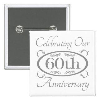 60.o Aniversario de boda Pin Cuadrada 5 Cm