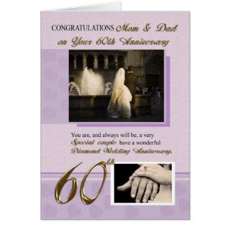 60.o Aniversario, mamá y papá de boda Tarjeta De Felicitación