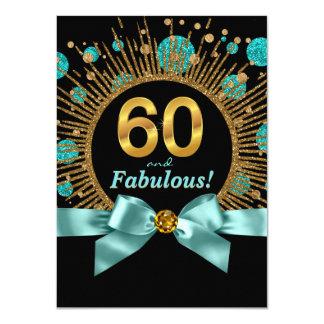 """60.o azul y oro del trullo del cumpleaños de la invitación 4.5"""" x 6.25"""""""