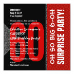 60.o Blanco y negro rojo diagonal de la sorpresa Anuncio Personalizado