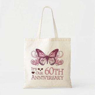 60.o Boda Aniversary (mariposa) Bolsa Tela Barata