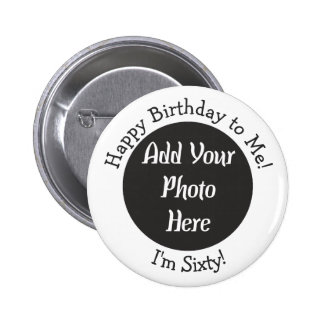 60.o botón personalizado de la foto del cumpleaños pin redondo de 2 pulgadas