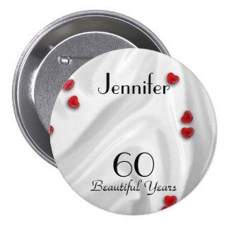 60 o Botón Pin pequeños corazones rojos del cumpl